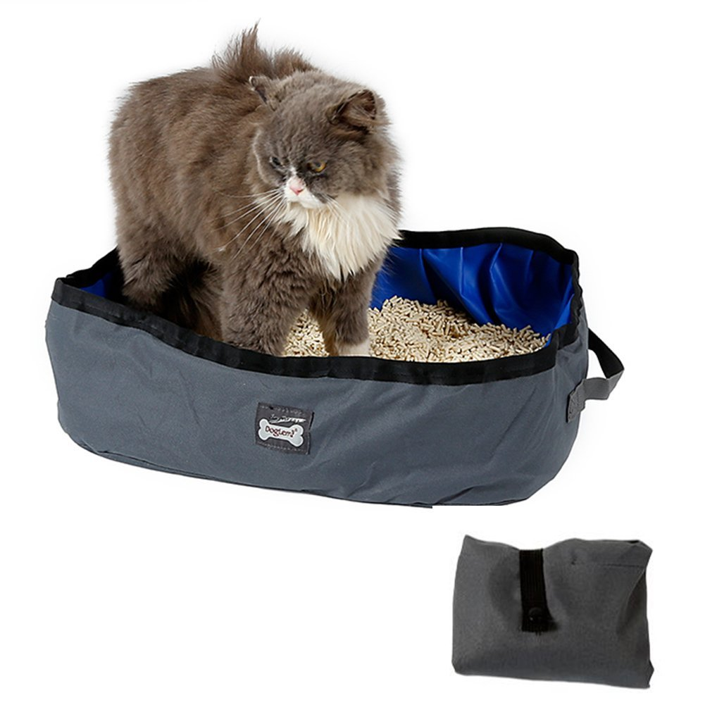 Petneces Cat Litter Box Pan Foldable Portable Waterproof Oxford Cloth Cat Box Carrier for Travel Outdoor Used