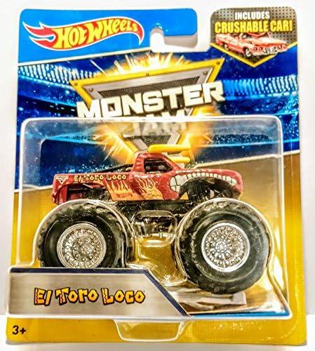 Hot Wheels Monster Jam 25 - El Toro Loco (Dark Red) with Crushable Car