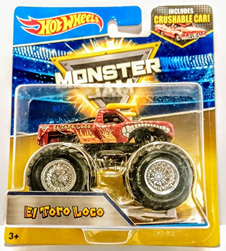 Hot Wheels Monster Jam 25 - El Toro Loco (Dark Red) with Crushable Car