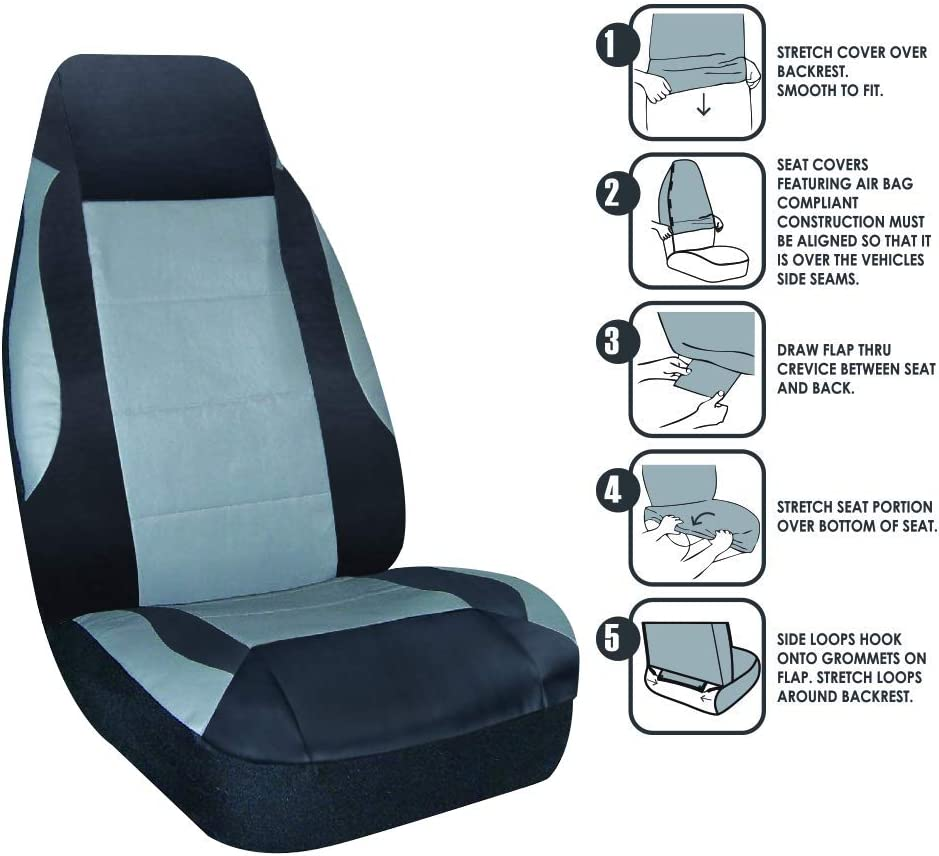 Karrfun PU Leather Front Car Seat Covers Fashion Style High Back Bucket Car Seat Cover Auto Interior Car Seat Protector 2 Packs Model 2
