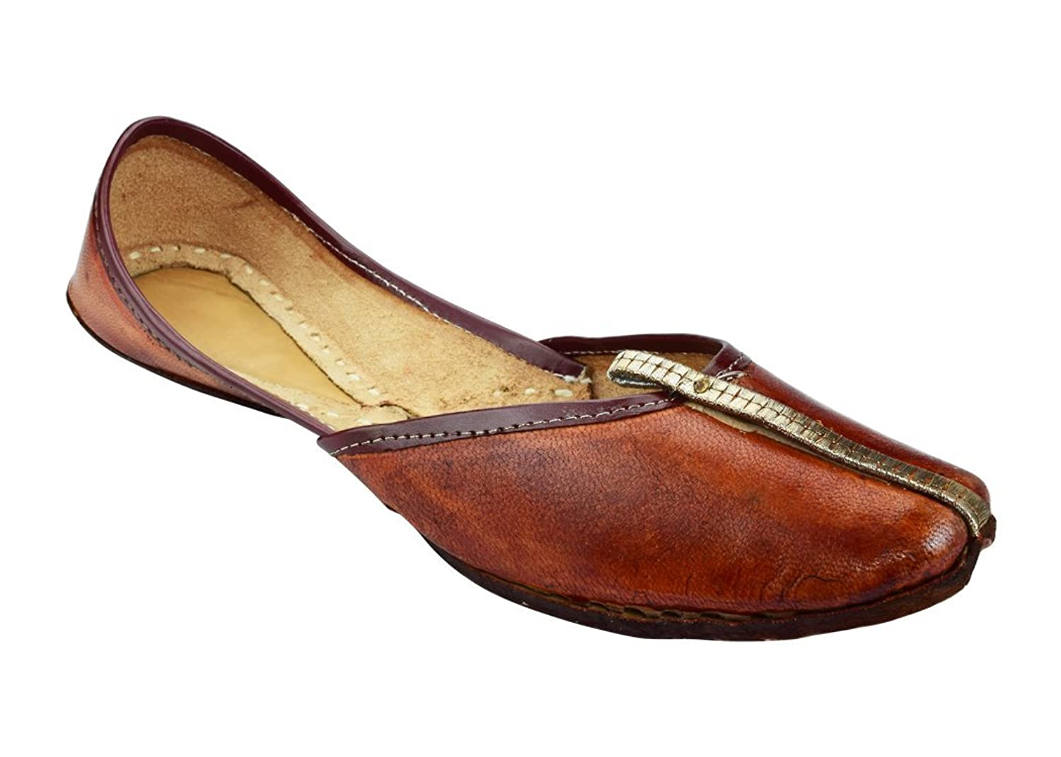 indianpartywears Women's Leather Loafer Flats US8 Brown