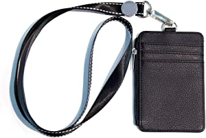 "BULK Badge Holder – Leather ID Badge Card Holder Wallet Case ID Lanyard with 5 Card Slots, 1 Side Zipper RFID Blocking Pocket and 19"" Neck Lanyard for Offices ID, School ID, Driver Licence (Black)"