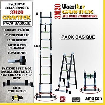 ESCALERA WOERTHER-ESCALERA TELESCÓPICA 3 FUNCIONES Y 3M 20-1M60/GRAFITEK, MODELO DE GRAFITO Y ALUMINIO/7175T6 BARRAS ESTABILIZADORAS CON DOBLES, 5 AÑOS DE GARANTÍA: Amazon.es: Bricolaje y herramientas
