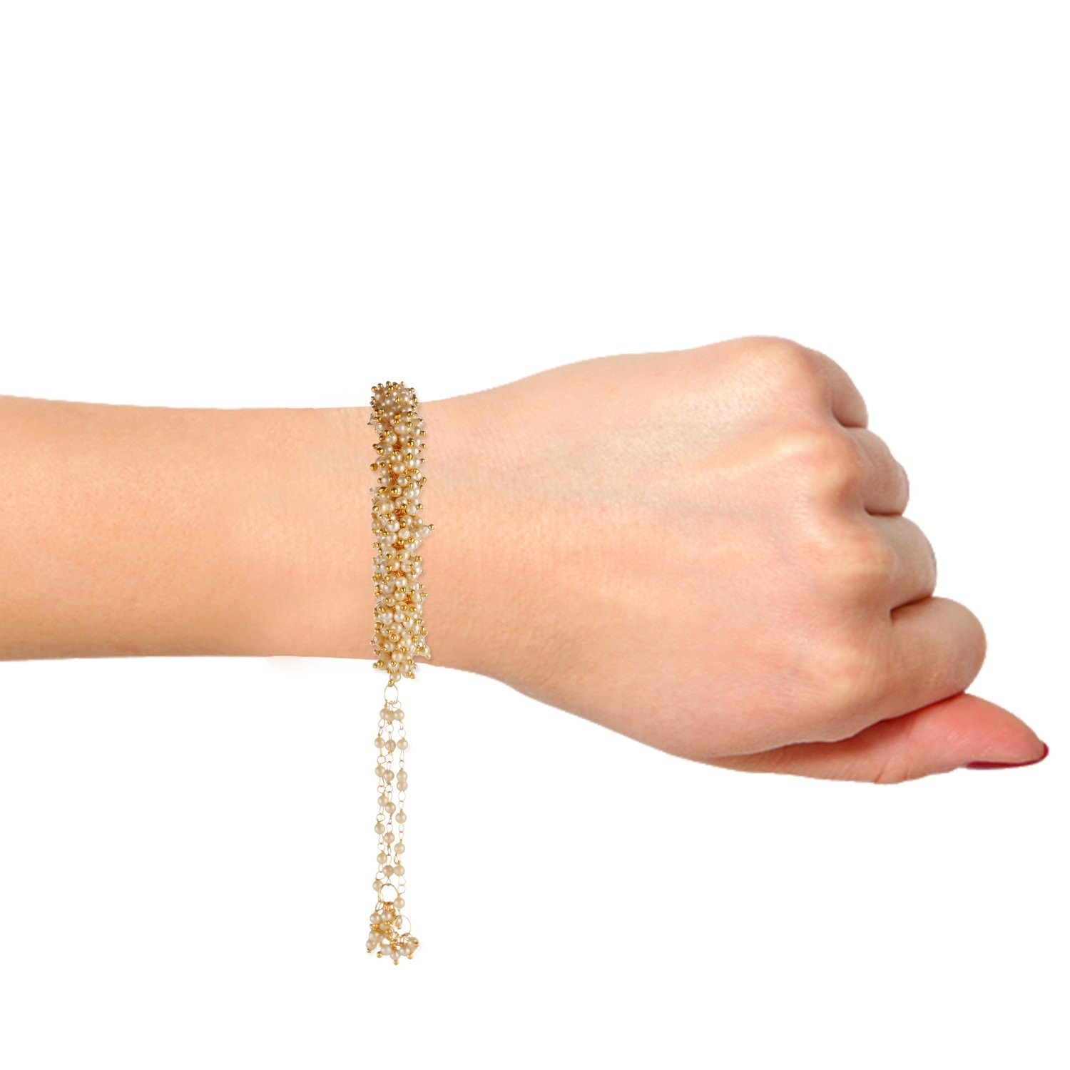 Efulgenz Fashion Jewelry Indian Bollywood 14 K Gold Plated Faux Pearl Beaded Cuff Style Bracelets Bangle Set with Tassels (2 Pieces) by Efulgenz (Image #3)