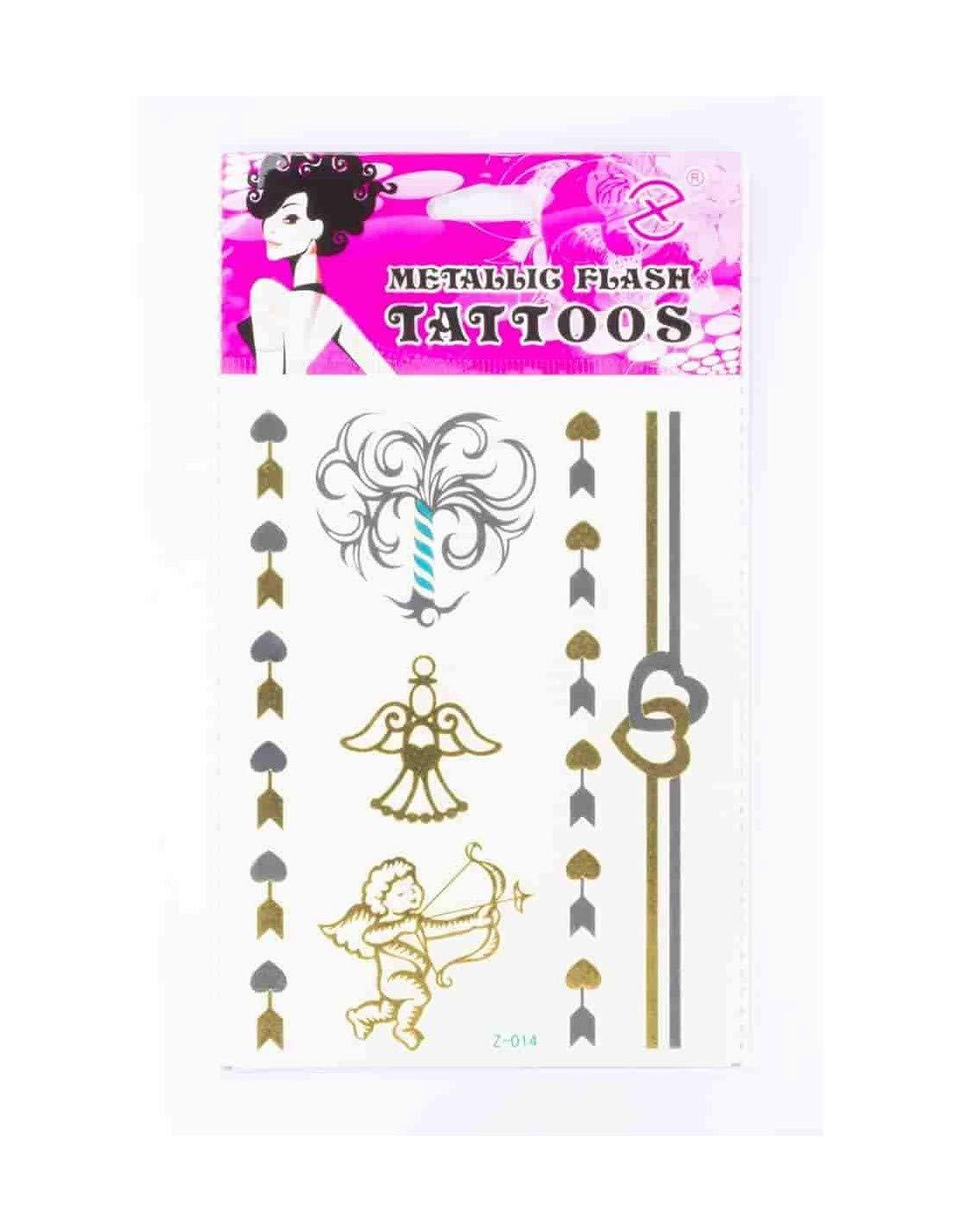 Tatuaje efímero metálico ángeles corazón: Amazon.es: Belleza