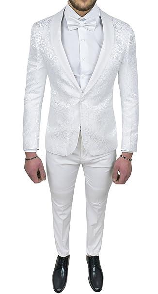 Abito completo uomo sartoriale bianco tessuto raso damasco floreale slim fit  vestito smoking elegante  Amazon.it  Abbigliamento a76ea4720f3