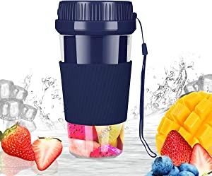 MroTech Portable Blender for Smoothies Shakes Juice Personal Blenders USB Rechargeable Juicer Cup Cordless Fruit Mixer Machine Handheld Ice Blender for Office School Home Travel Gym Sports-Dark Blue