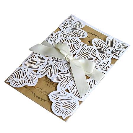 Spachy 10 Tarjetas De Invitación De Boda De Flores Blancas