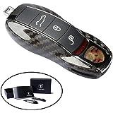 FancyAuto キーケース ポルシェ PORSCHE 専用 carman 911 918 カイエン macan panamera 炭素繊維 ガラス繊維 キーカバー(ブラック)