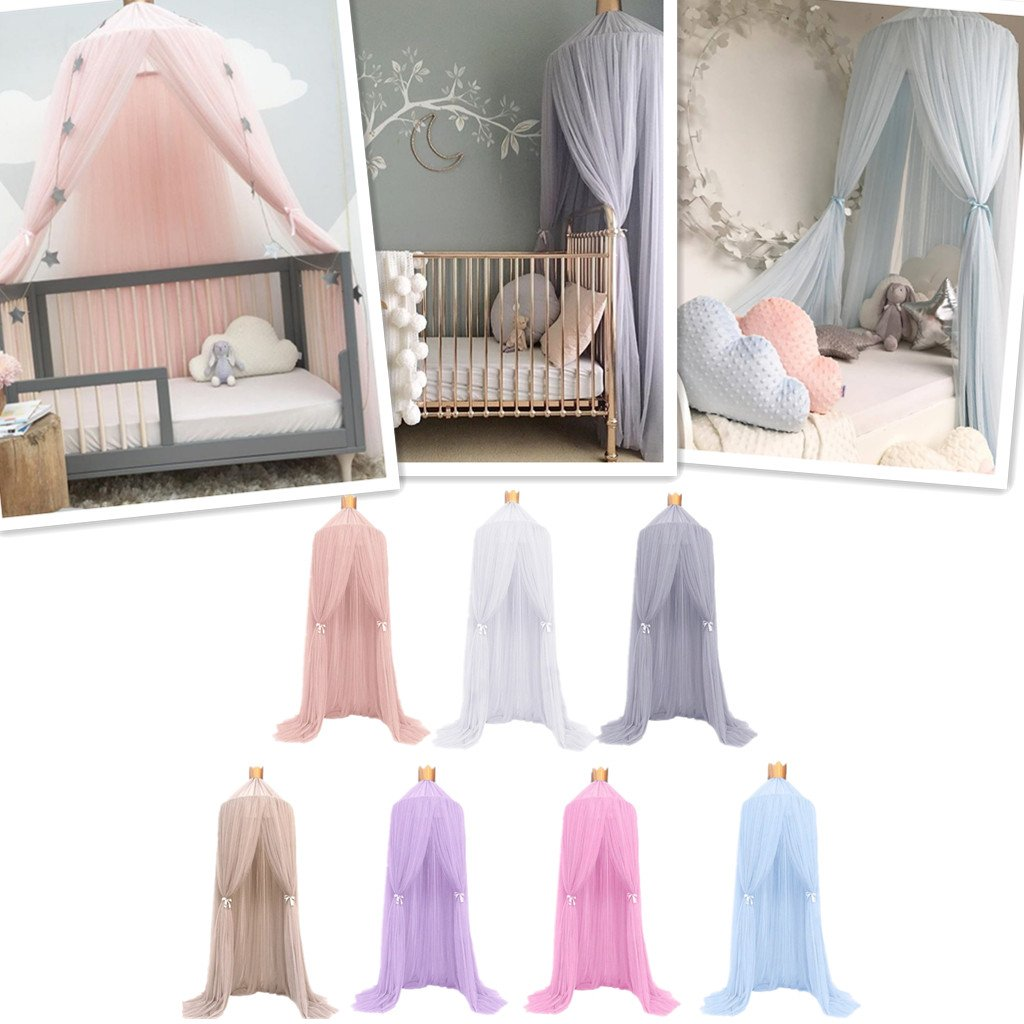 as described LOVIVER Gauze Round Dome Princess Bedding Hanging Canopy Mosquito Net Baby Kids Bedroom Peach Red