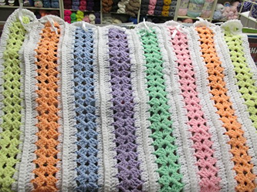 Hand Crocheted Afghan (Hand Crocheted Multi Color Mile a Minute Afghan)