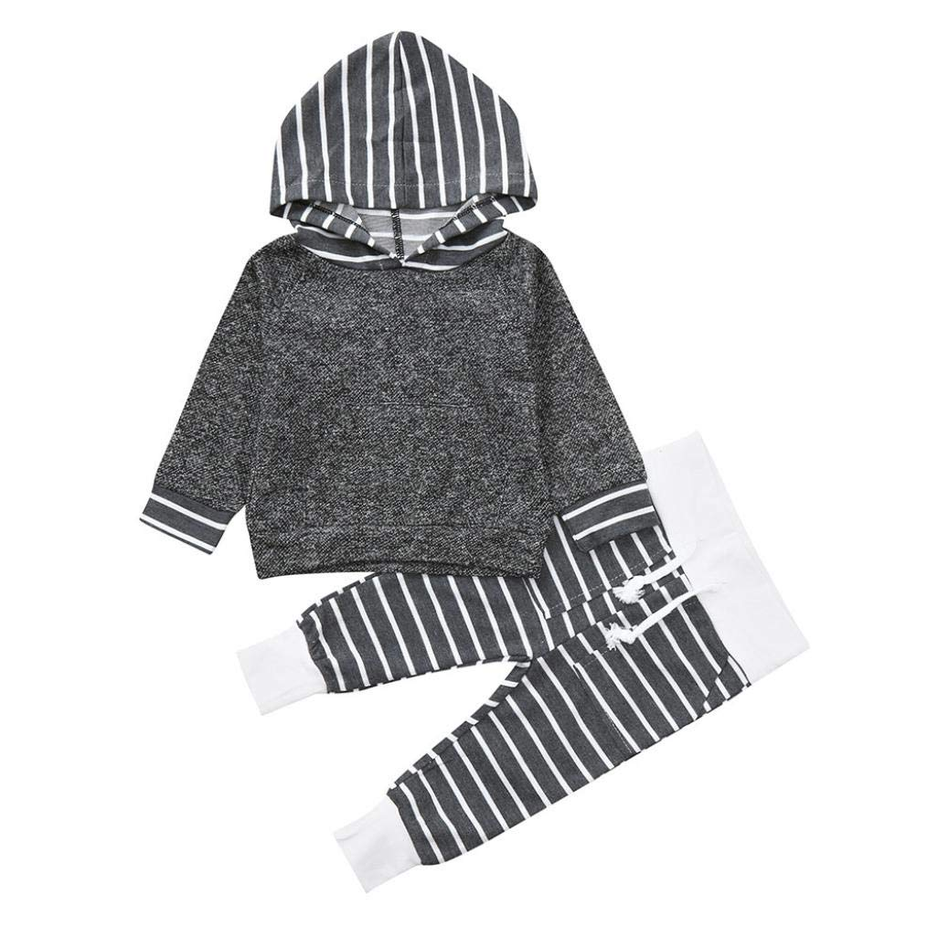 GBSELL Toddler Kids Baby Boy Girl Fall Winter Clothes Striped Hooded Tops + Pants Set (Gray, 0-6 Months)