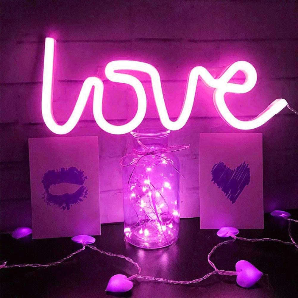 Aok Door Neon Lights Bedroom Neon Led Lights Neon Signs For Wall Lamps For Home Decoration Neon Lights For Bedroom Neon Signs For Bedroom Neon Wall Light Pink Love Amazon Co Uk Kitchen