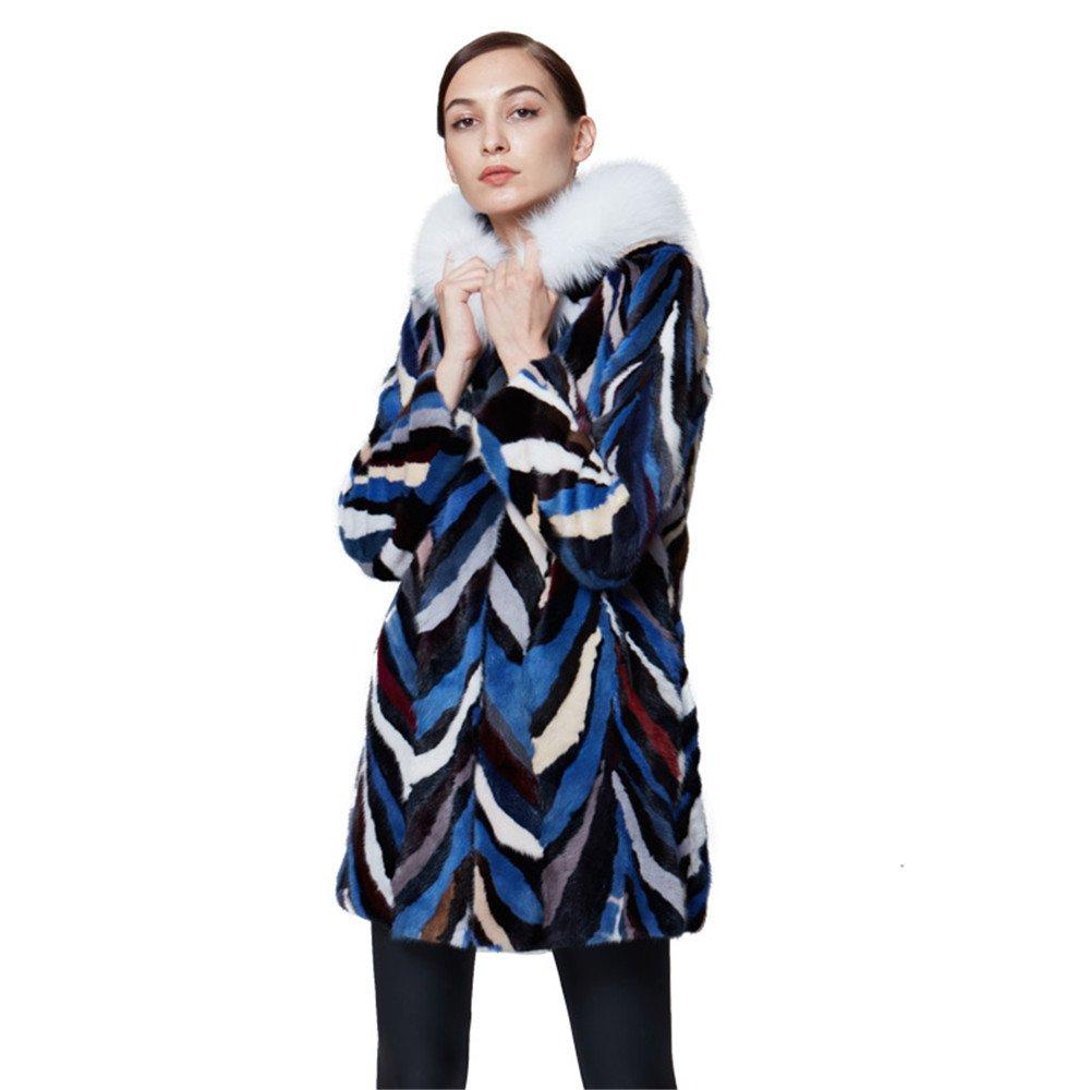 bluee1 qmfur Women's Winter Outerwear Warm Long Mink Real Fur Coat