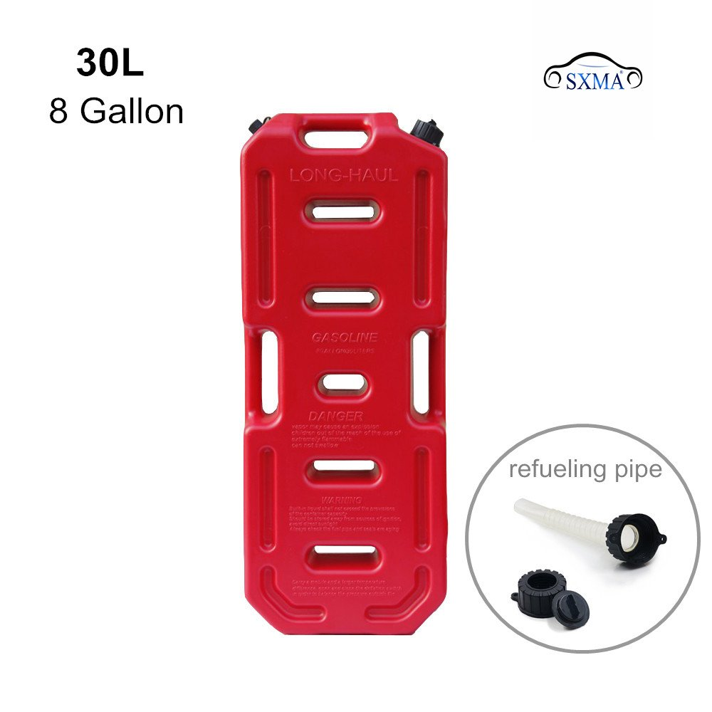 SXMA 30L Portable Gasoline Diesel Fuel Tank with Refueling Pipe 8 Gallon SUV ATV Motorcycle Scooter Car Tanks Jerrycan (red)