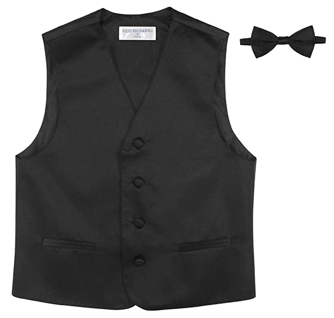 2b55e3f2df2f Amazon.com: BOY'S Dress Vest & BOW Tie Solid BLACK Color BowTie Set ...