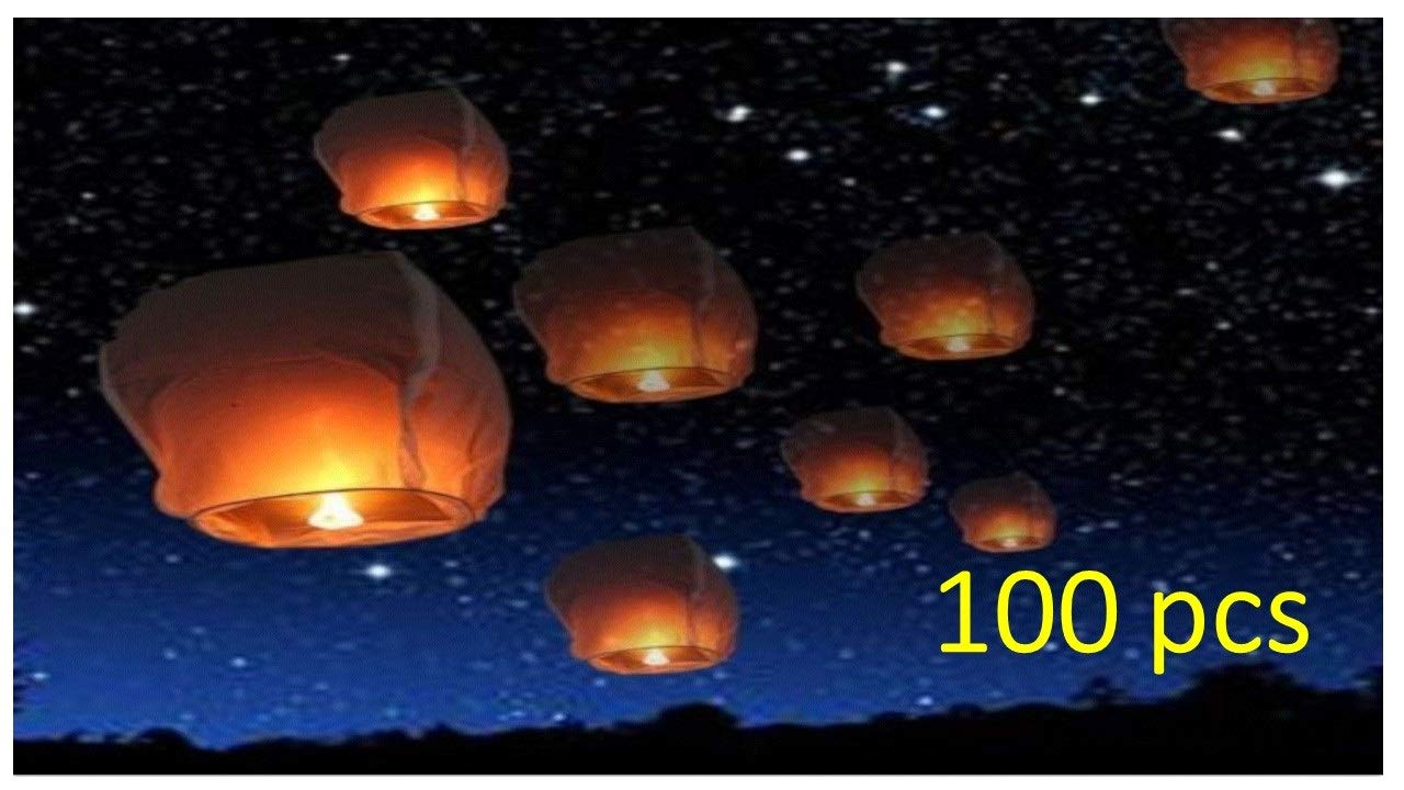 100 Sky Lanterns Chinese Paper Candle KongMing Light for Wish Party Wedding