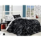 Ranforce 100% Turkish Cotton 3 Pcs Black White Musical Note Melody Music Twin Single Size Duvet Quilt Cover Set Bedding Linens