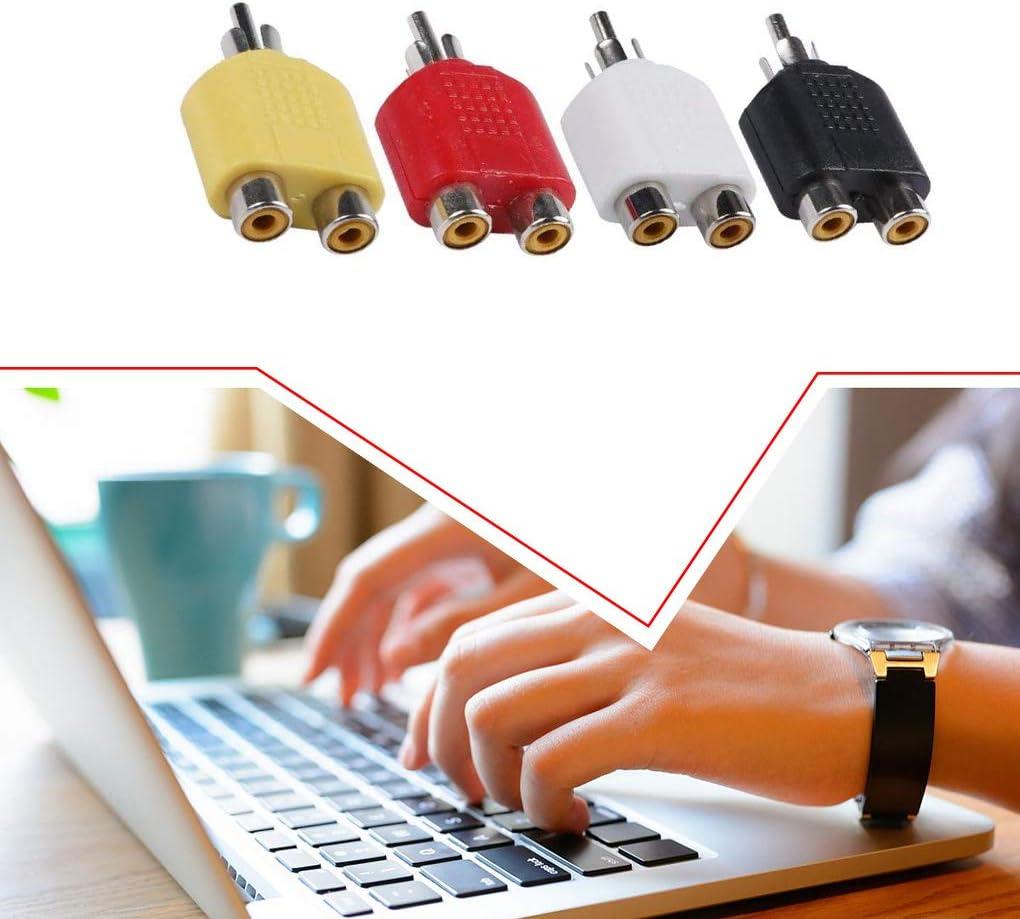 Lorsoul 4pcs RCA Audio Adapter Lautsprecher-Verst/ärker RCA-Teiler-1-Drag-2 Y-Typ Audio-Adapter-Konverter