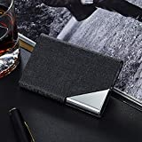 LinTimes PU Leather Stainless Steel Business Card Holder Name Card Case with Magnetic Shut Black