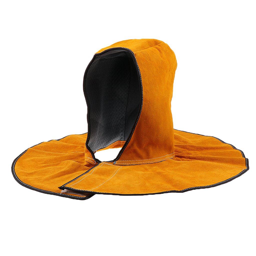 Fenteer Protective Welding Hood Helmet Cover Protective Cap Cowhide Leather Hat