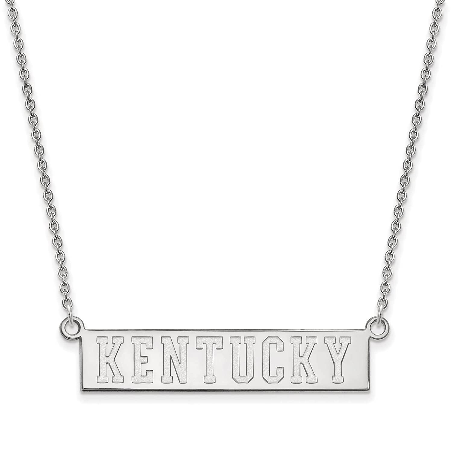 925 Sterling Silver Rhodium-plated Laser-cut University of Kentucky Small Pendant w//Necklace 18