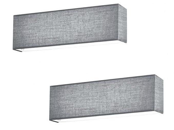 Set lampade led luci da parete lugano tessuto grigio con