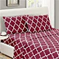 Mellanni Bed Sheet Set Queen Brushed Microfiber Printed Bedding Deep Pocket Wrinkle Fade Stain Resistant 4 Piece Queen Quatrefoil Burgundy Red