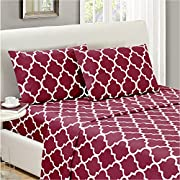 Mellanni Bed Sheet Set Queen - Brushed Microfiber Printed Bedding - Deep Pocket, Wrinkle, Fade, Stain Resistant - 4 Piece (Queen, Quatrefoil Burgundy - Red)