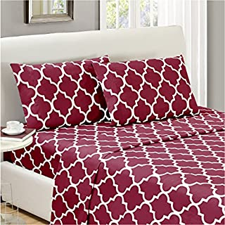 Mellanni Bed Sheet Set Queen - Brushed Microfiber Printed Bedding - Deep Pocket, Wrinkle, Fade, Stain Resistant - 4 Piece (Queen, Quatrefoil Burgundy - Red) (B01E7UJI8S) | Amazon price tracker / tracking, Amazon price history charts, Amazon price watches, Amazon price drop alerts