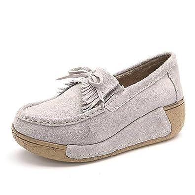 fdaa42ac5910 SAGUARO Women Platform Loafers Walking Sneakers Suede Moccasins Rocker Sole  Wedges Tassel Shoes