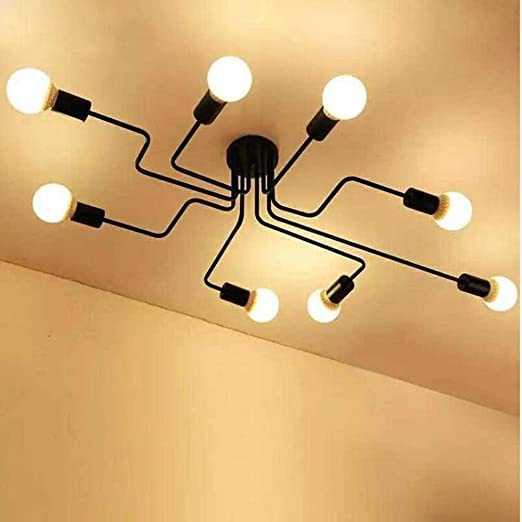 Industrial Ceiling Light, SUN RUN Creative Retro 8-Light Fixture Chandeliers Vintage Metal Semi Flush Mount Pendant Lamp with Painted Finish for ...