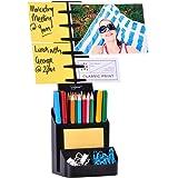 NoteTower Desktop Organizer Black - Sticky Note Holder & Office Supplies Caddy - Displays Photos, Sticky Notes, Business Cards & Holds Pens & Pencils + BONUS 50 Sheets 3x3 Sticky Notes