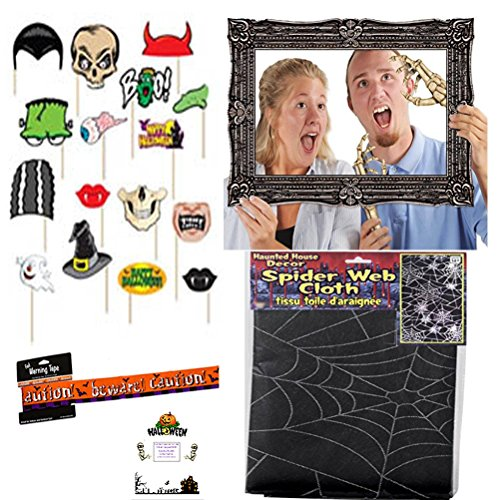 Halloween Photo Booth Props Kit Set Photo Prop Frame Props Spider Web Cloth Beware Foil Warning Tape Idea Guide Bundle (23 pieces)