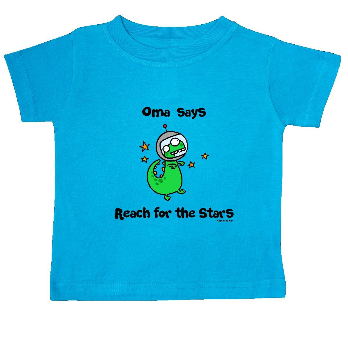 inktastic Oma Says Reach for The Stars Baby T-Shirt Flossy and Jim