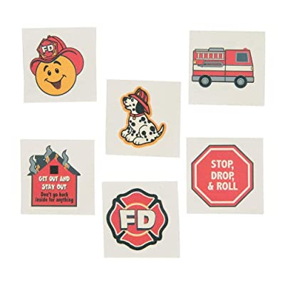 Fun Express Fireman Fire Safety Temporary Tattoos for Kids, 72 Count: Toys & Games