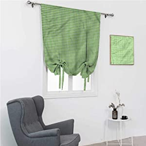 """Tie Up Curtains for Windows Green Window Shades for Home Traditional Checkered Pattern 48"""" Wide by 64"""" Long"""