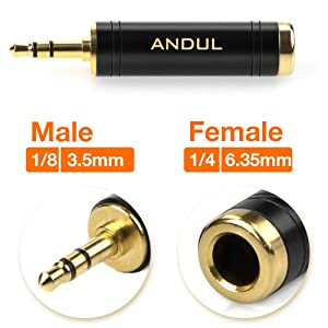 ANDUL 1/4'' to 3.5mm Stereo Pure Copper Headphone Adapter,3.5mm(1/8'') Plug Male to 6.35mm (1/4'') Jack Female Stereo Adapter for Headphone, Amp Adapte, Black 2-Pack (Tamaño: 1/4'' Famale to 3.5mm Male)