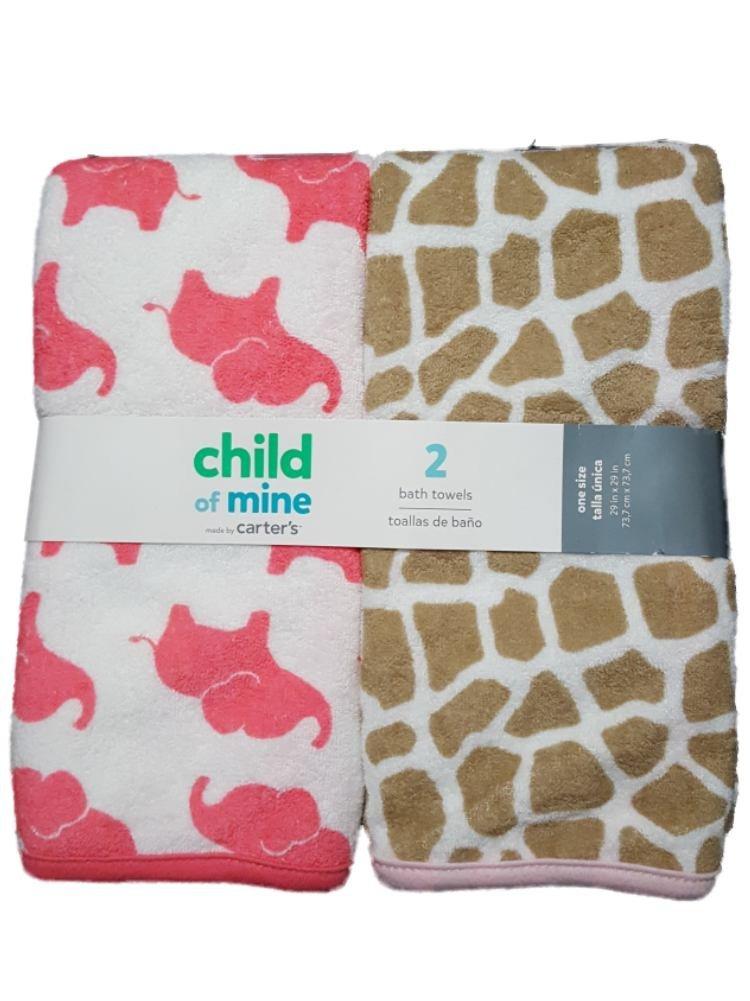 Amazon.com : Carters Child of Mine Baby Girls 2pk Bath Towels, Pink : Baby