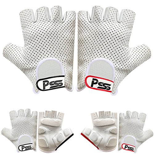 (Mens Half Finger Real Soft Leather Ruber Padded Cycle Fashion Driving Gloves 306 (306-White/Red, L))