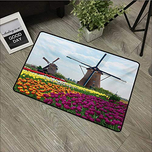 Windmill,Room Doormat Bedding Plants of Netherlands Farm Country Heritage Historical Architecture Theme W 16