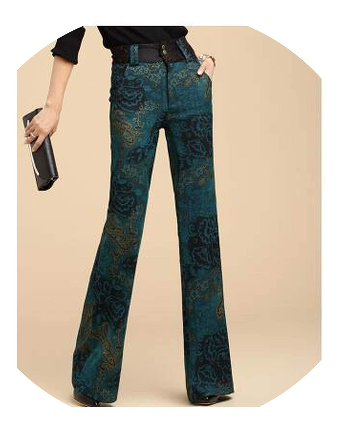 Green It's a big deal Winter Women's Thick Warm Pants Autumn Printed Flare Leg Pants Slim High Waisted Velvet Trousers