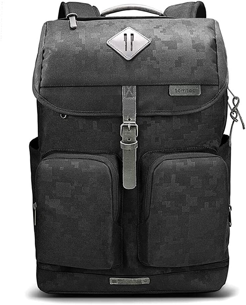 tomtoc Vintage Travel Backpack Business Durable Laptops Backpack with Charge Port, Waterproof Computer Book Bag for Women & Men Fits up to 15.6-inch Laptop Notebook & 12.9/11 iPad