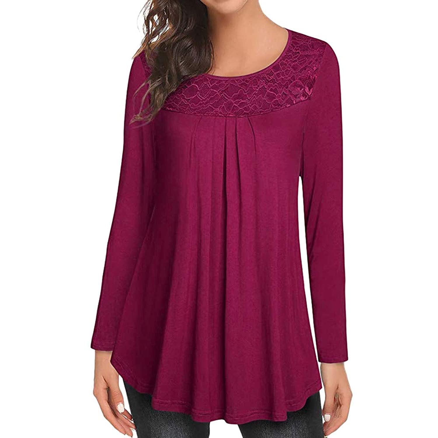 040e1746b1 Top5  vermers Clearance! Women Tunic Tops Womens Casual Solid Lace  Patchwork Ruched O-Neck Long Sleeve T-Shirt Blouse
