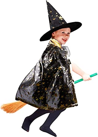 Halloween Witch Pamkin Cape with Hat Party Costume 3-7Y
