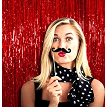 Treasures Gifted Fringe Curtain Tinsel Backdrop for Photoshoot and Parties (Pack of 1, Red)