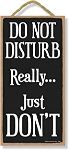 Honey Dew Gifts Funny Wooden Signs, Do Not Disturb Really Just Don't, Hanging Wood Sign, 5 inch by 10 inch Decorative Signs, Wall Door Home Decorative