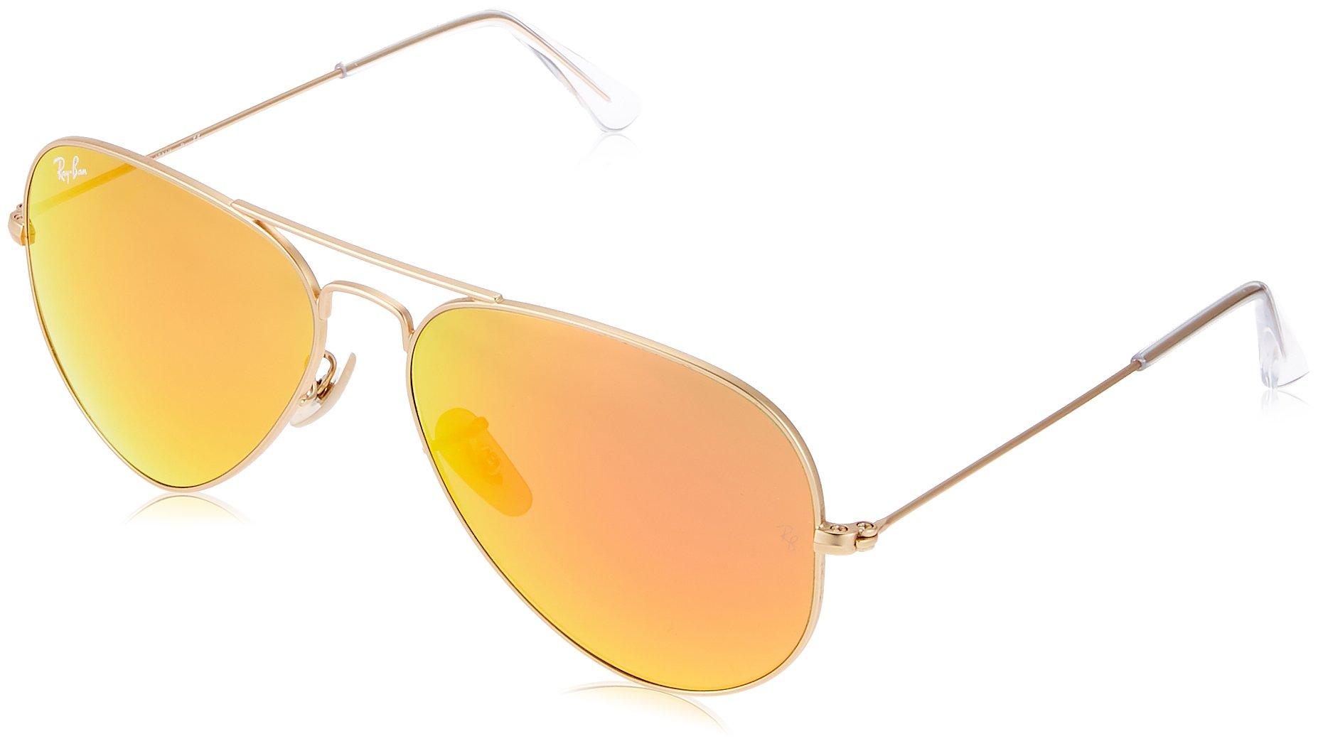 Ray-Ban AVIATOR LARGE METAL - MATTE GOLD Frame CRYSTAL BROWN MIRROR ORANGE Lenses 58mm Non-Polarized