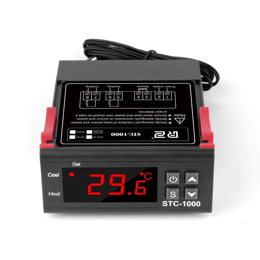 AC 110V-220V Digital Temperature Thermostat Controller STC-1000 Thermometer Temp Controller Relay All-Purpose Centigrade Thermostat with Sensor 2 Relays for Fermentation Refrigerator