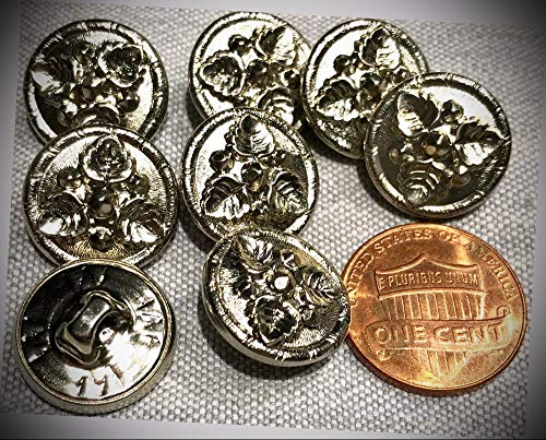 (JumpingLight 8 Shiny Hollow Puffed Silver Tone Shank Buttons Leaf Leaves 5/8'' 15.5mm 8117 Perfect for Crafts, Scrap-Booking, Jewelry, Projects, Quilts)